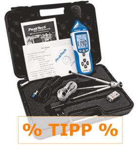 Schallpegelmessgerät-Tipp PeakTech im Set mit Aufzeichnung und Koffer